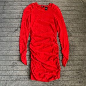 Moda International Red Ruched Sweater Dress
